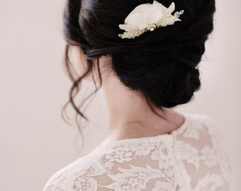 Chiffon hair comb, ivory hair comb- style 2004 - FREE SHIPPING*