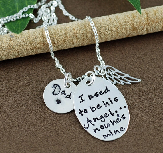 I use to be his Angel now he is Mine |Hand Stamped Necklace | Memorial Necklace | In Memory Of | Loss of Loved One | Sympathy Gift