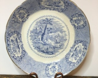 Ridgway (?) Oriental, Antique Bowl, Blue and White Transferware, Coupe Soup Bowl, Country Farmhouse Decor, Old Bowl, Asian Design, Soup Dish