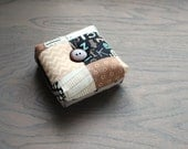 Modern Square Pincushion Black and Brown Geometric Pin Keep Scrappy Pin Cushion