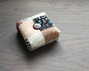 Modern Square Pincushion Black and Brown Geometric Pin Keep Scrappy Pin Cushion