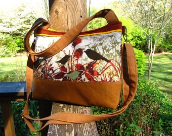 Chirping Birds Tote with Yellow accents/ Waxed Canvas / Appliqued Ultra Suede Birds/ Large interior Zipper pocket