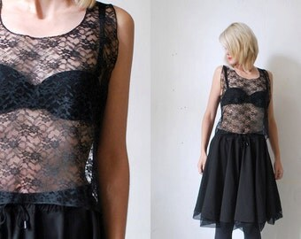 SALE...70s black lace top. crop top. sheer top - large, xl