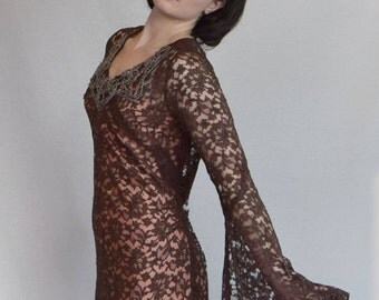 1930's chocolate lace gown with glass beaded bib