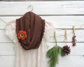 Brown Infinity Scarf , Scarf with Flower Pin, Brown Scarf with Flower Brooch, Circle Scarf, Jersey Scarf, Fall Scarf, Orange Crochet Flower