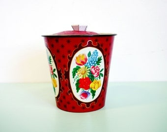 Vintage 1950s Red Floral Biscuit Tin Made in England