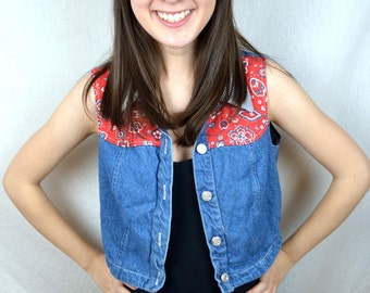 Vintage 90s Girly Country Cowgirl Denim Cropped Top by California Concepts