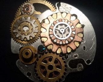 Steampunk Jewelry Necklace Pendant-NoChain-OOAK Clock Magic Gold Brass Silver Copper Gear Parts - Crazy Bob's Designer Fashion Jewelry
