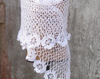 Wedding Shawl, White Shimmer, Wedding Stole, Brides Maid Shawl, Prom Wrap, Bridal Wrap, Hand Crochet, Made with Love, Rectangular in Shape