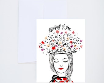 Thinking of You Florals - Friendship / Just For Fun Greeting Card - A-2 Single Card