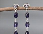 Iolite Earrings - Blue Gemstone Earrings - Silver Post Earrings - Special Occasion Jewelry - Bridal Jewelry - Silver Wire Wrapped Earrings