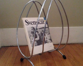 MOD-SALE! Mid Century Magazine Rack , Retro Chrome Magazine Holder Rack Stand