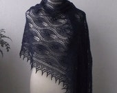 Navy Blue hand knitted alpaca lace stole with nupps
