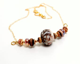 Earthy Tribal Lampwork Necklace. Artisan Beads Necklace. Boho Tribal Southwestern Necklace. Lampwork Bead Jewelry. Unique Gifts.