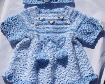 Crochet Baby Girl Dress Headband 2 Piece Set