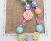 Girls Easter Necklace, Easter Chunky Necklace, Spring Jewelry, Toddler Necklace, Chunky Necklaces, Bubblegum Necklace, Girls Pastel Jewelry