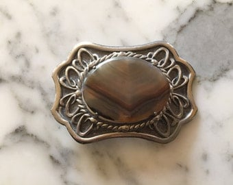 80s Belt Buckle . Silver Tone . Western Stone Cowgirl