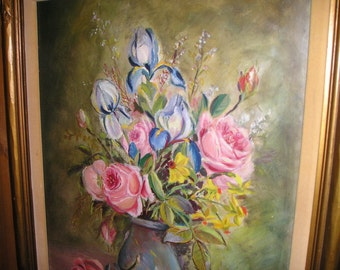 "Vintage Stunning Cottage Chic Still Life Framed Roses/Flower Bouguet w/Vase Oil on Canvas Painting 27""x23"" Signed."