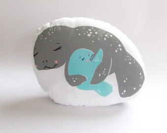 Hugging Manatee Plush Pillow. Hand Woodblock Printed. 11 inches. Ready to Ship.