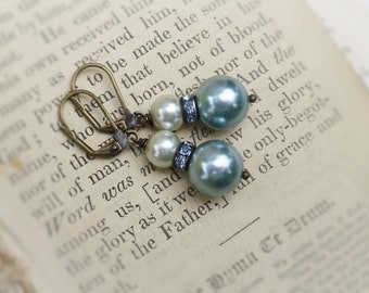 Marie Antoinette, Vintage Reclaimed French Aqua Pearls  with Vintage Aqua Rhinestones Upcycled Assemblage Earrings by Hollywood Hill