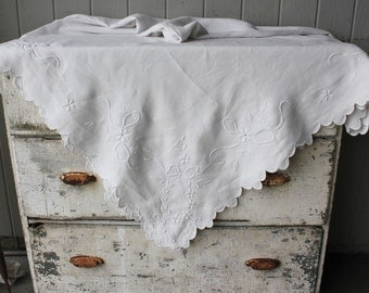 Beautiful Vintage White on White Embroidered  Tablecloth 78 inches square