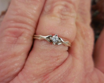 Sterling Solitaire Engagement Wedding Ring