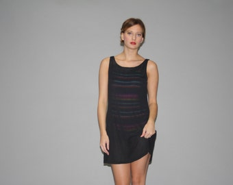 90s Designer Oscar De La Renta Black Mesh Coverup Dress - Oscar De La Renta Dress - 1990s Designer Vintage Dress  -  WD0605