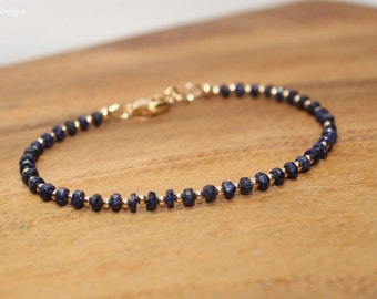 Sapphire Bracelet, Gold Filled Beads, Sapphire Jewelry, September Birthstone, Minimalist, Layering, Gemstone Jewelry