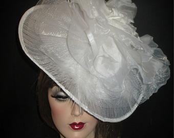 THE ROSE- White Organza Tilt Fascinator Hat, Avant Garde Derby Fascinator, Tilt Saucer Hat, White/Ivory Wedding Fascinator, Tea Party Hat
