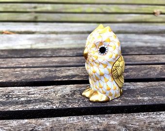 Miniature Owl Figurine Herend Porcelain Owl Yellow Fishnet Hungarian