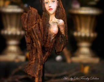 Tree Nymph Sculpture. Clay & Wood Carving Art Doll by Fae Factory Visionary Artist Dr Franky Dolan (Fantasy Art Sculpture Art Doll OOAK Art)