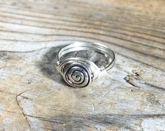 Silver metal Spiral wire wrapped Ring - size 5.75 , 5 3/4 - swirl bead wrap simple minimalist women men boy girl teen unisex jewelry