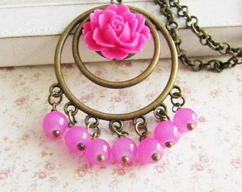 Pink flower pendant necklace, vintage style jewelry, gift for her, bronze necklace, large pendant, for her, Europe