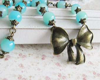 Blue necklace, beaded necklace, bronze vintage style jewelry, for her, bow necklace, romantic jewelry, Europe