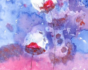 SALE 15% OFF - Abstract Art Watercolor Acrylic Painting Blue Pink Purple Floral Home Wall Decor - Free Shipping *