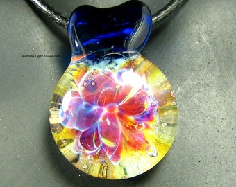 Lampwork Pendant - Pink Boro Glass Necklace - Passion Flower Design - Artisan Crafted