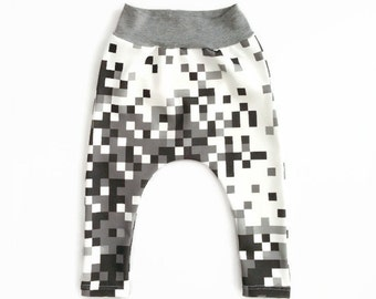 Pixel Camo Harems Grey Organic Cotton Black Monochrome Unisex