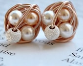 Petite Mix it Up Series - Rose Gold Wire Wrapped Stud Earrings With Stardust Beads and White / Peach Swarovski Glass Pearls