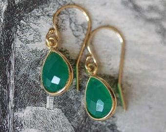 Green onyx earrings, delicate green onyx earrings, gold vermeil