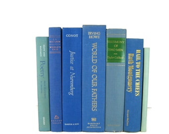 Blue Green Books , Vintage Books , Books , Decorative Books ,  Wedding Decor ,  Photo Prop , Instant Library , Shabby Chic Wedding