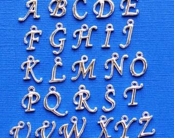 Script Alphabet Letter Charms Antique Silver Tone Full Alphabet 26 Charms Beautiful Cursive Design - ALPHA800