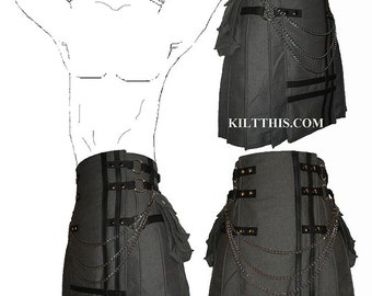 Interchangeable Grey Fleece Cargo Utility Kilt Black Leather Double Cross Custom Fit Adjustable Many Options