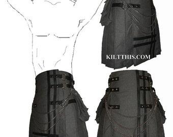 Interchangeable Grey Fleece Cargo Utility Kilt Black Leather Double Cross Custom Fit Adjustable Many Options