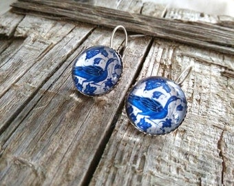 Blue bird cabochon earrings. Silver peacock mosaic earrings. Blue mosaic earrings. Ceramic peacock earrings