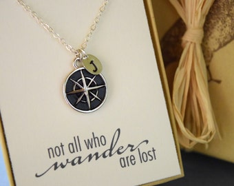 Personalized Compass Necklace, Not all that Wander are Lost, Sentiment Jewelry, Class of 2016 Gift
