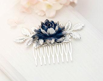 Bridal Hair Comb Navy Blue Something Blue Wedding Hair Accessory Silver Leaf Hair Comb Dark Navy Blue Rose Flower Hair Comb Bridal Hairpiece