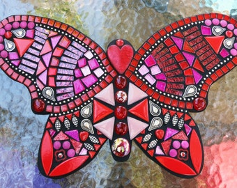 """MOSAIC BUTTERFLY - Custom Order / This One is Shades of Reds & Pinks in Glass, Tiles, Beads, Gems and Ball Chain  - 16""""x10"""" -  OOAK / Unique"""