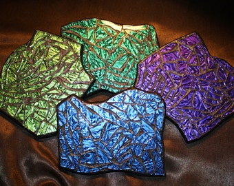 CUSTOM COASTERS - Funky Shaped Mosaic Drink Coasters in Blue / Purple / Teal / Green Van Gogh Stained Glass  - Set of 4 - Unique - OOAK