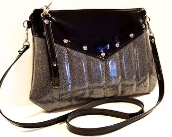 Glitter Vinyl Purse, Crossbody Bag, Silver Sparkle Purse, Rockabilly, Goth Bag, Black and Silver - MADE TO ORDER