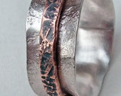 Sterling Silver and Copper Spinner Ring C Size 13.5 Hand Forged